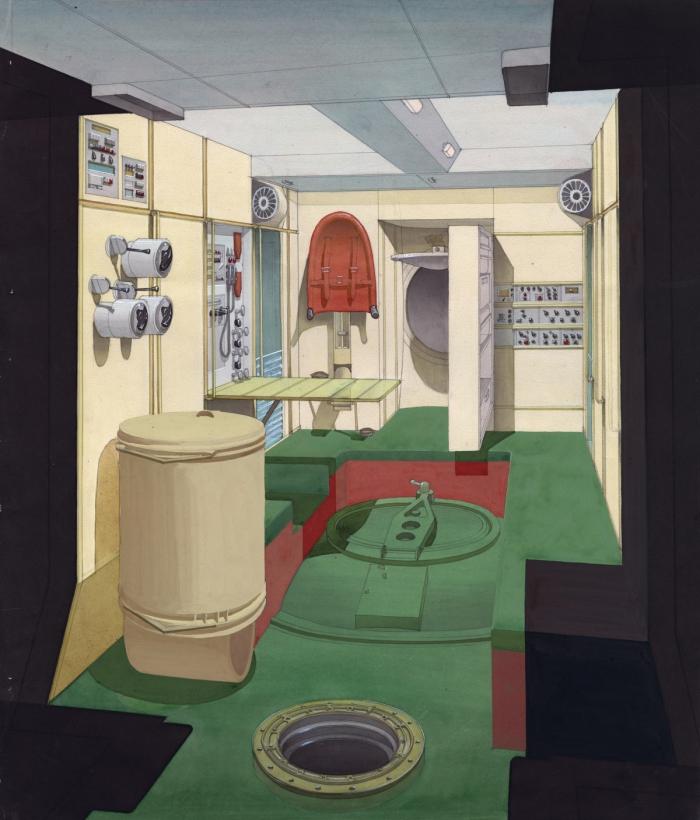 Эскиз интерьера космической станции «Мир» с цветовым делением «пола», «стен» и «потолка» (1980 г.) © Archiv Galina Balaschova